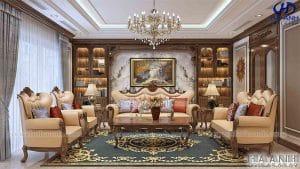 Sofa tan co dien go oc cho HKC 603