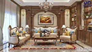 Mẫu sofa tân cổ điển gỗ óc chó HKC 605