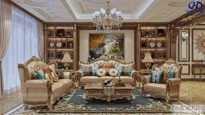 Mẫu sofa tân cổ điển gỗ óc chó HKC 606