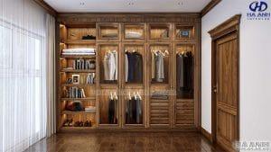 Tủ áo tân cổ điển gỗ óc chó HNC 902
