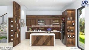 Tủ bếp gỗ óc chó tự nhiên HB 603