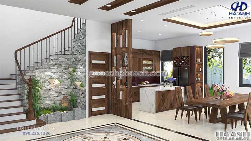 bố trí không gian bếp dưới gầm cầu thang độc đáo