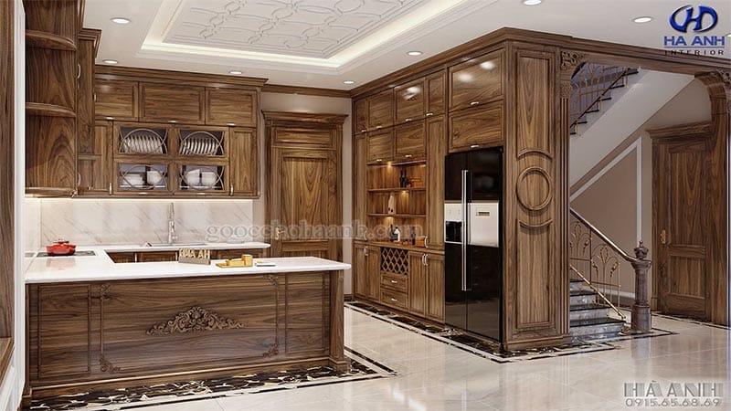Mẫu Tủ bếp tân cổ điểm gỗ óc chó HBC 601