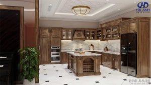 Mẫu Tủ bếp tân cổ điểm gỗ óc chó HBC 603