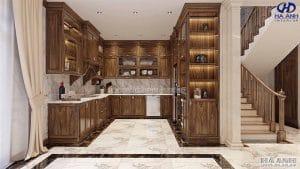 Mẫu Tủ bếp tân cổ điểm gỗ óc chó HBC 604