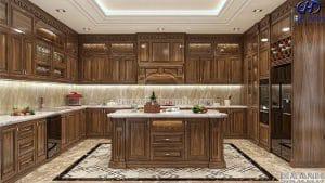 Mẫu Tủ bếp tân cổ điểm gỗ óc chó HBC 605