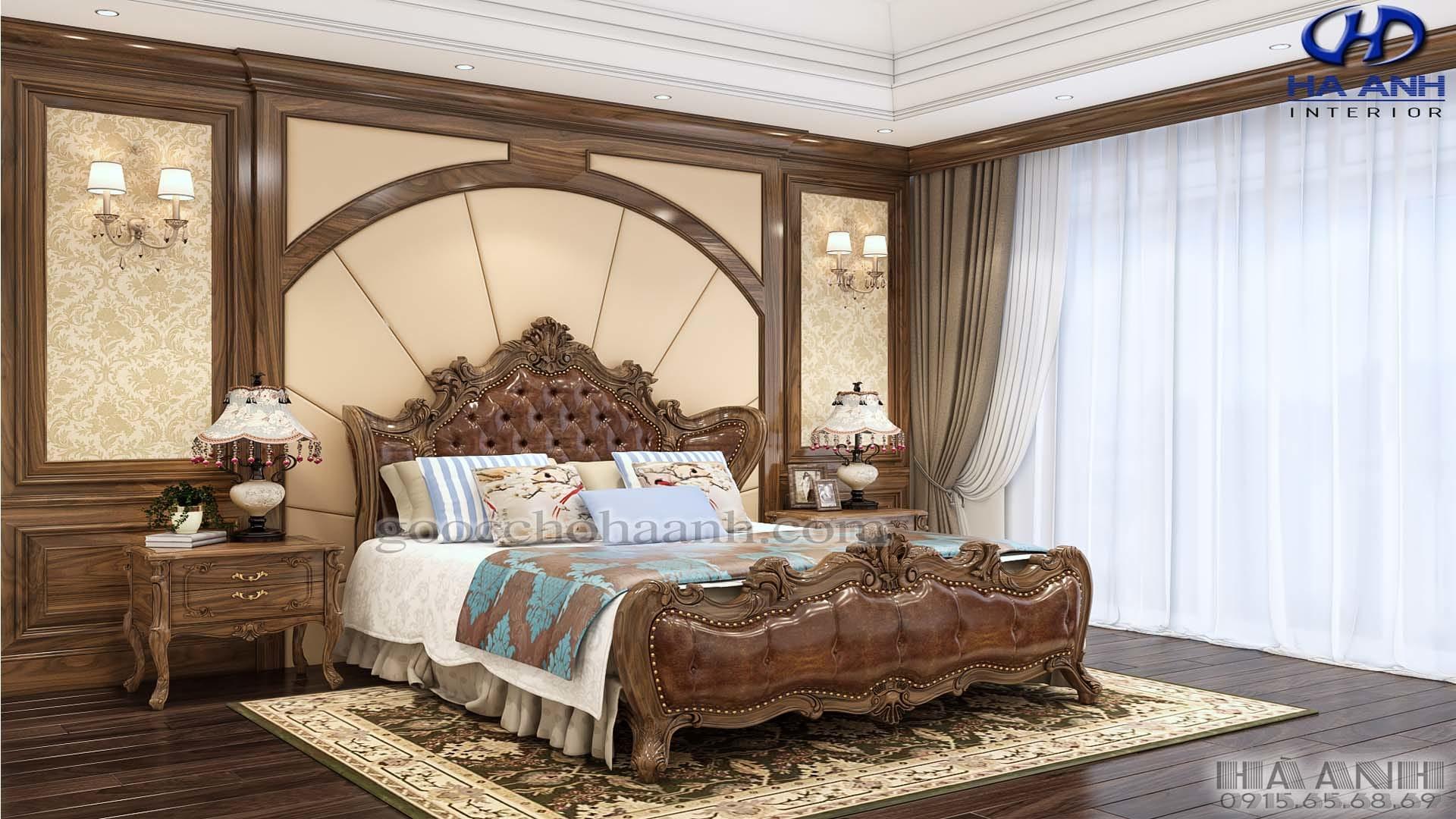 Các mẫu giường ngủ gỗ óc chó đầy lôi cuốn