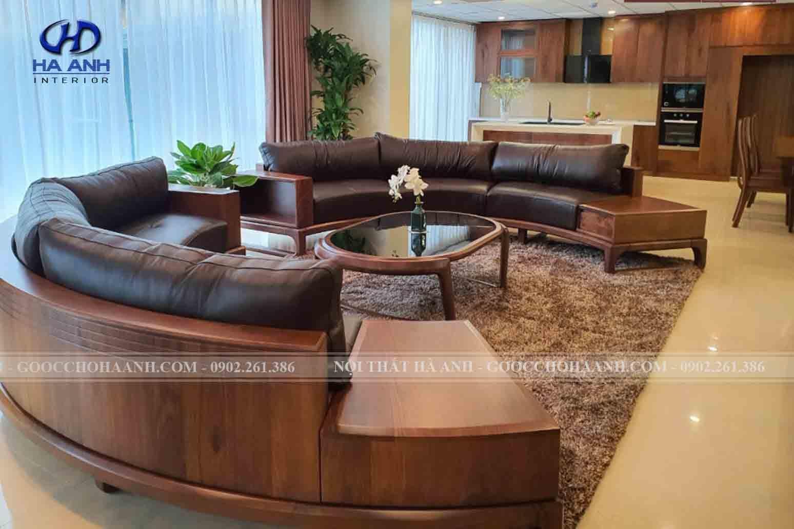 Sofa gỗ óc chó hình tròn đầy lôi cuốn