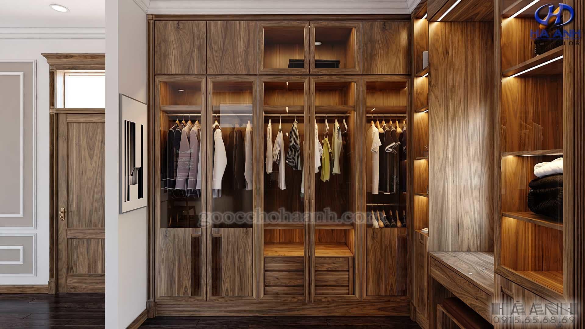 mẫu tủ áo hiện đại gỗ óc chó