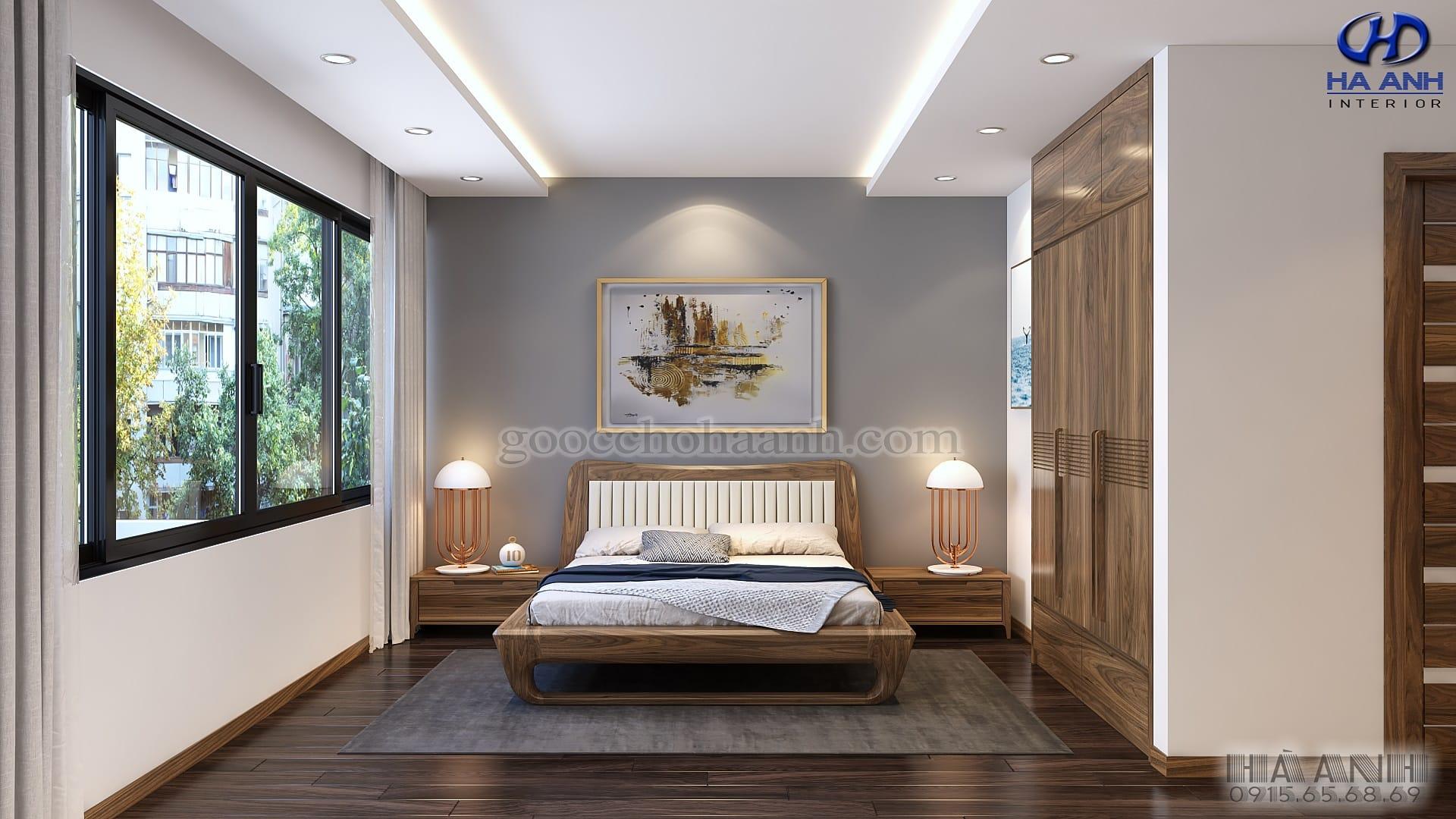 Giường ngủ gỗ óc chó HN 6019 mẫu 2