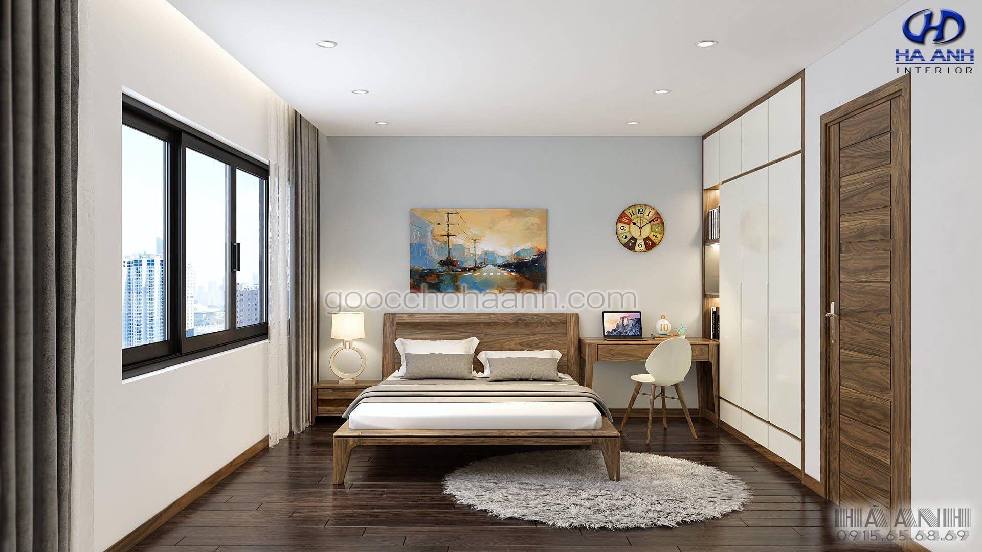 giường ngủ gỗ óc chó tự nhiên HN 6015 mẫu 2